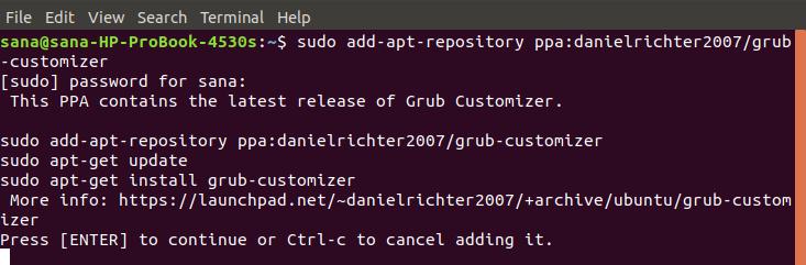 Add Ubuntu PPA for Grub Customizer