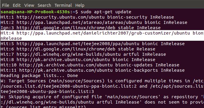 Update package list