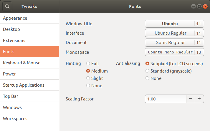 How to change Text Size in Ubuntu 18 04 LTS