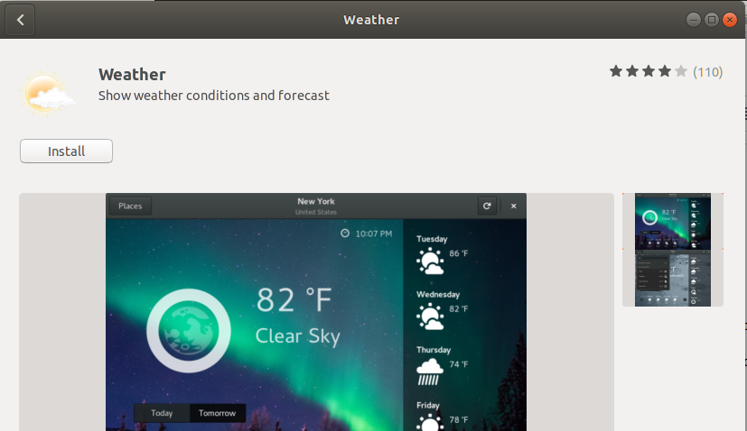 GNOME Weather application