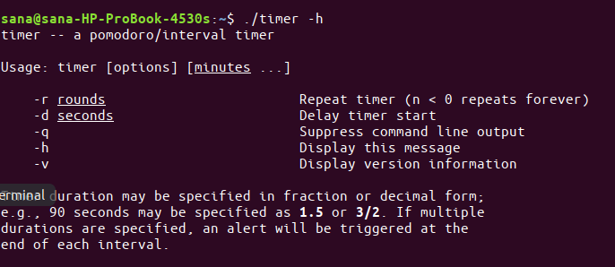 Timer command usage