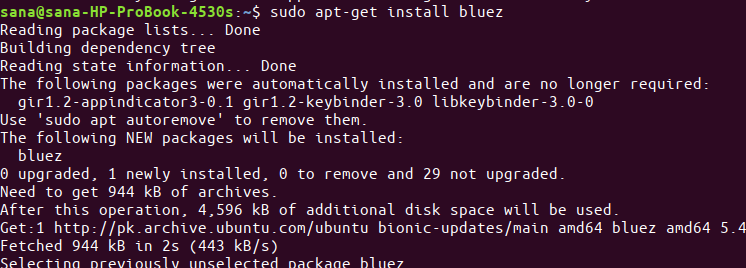 Install bluez on the shell