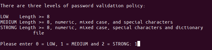 Password validation policy level
