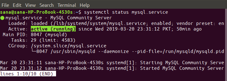 Check MySQL service status