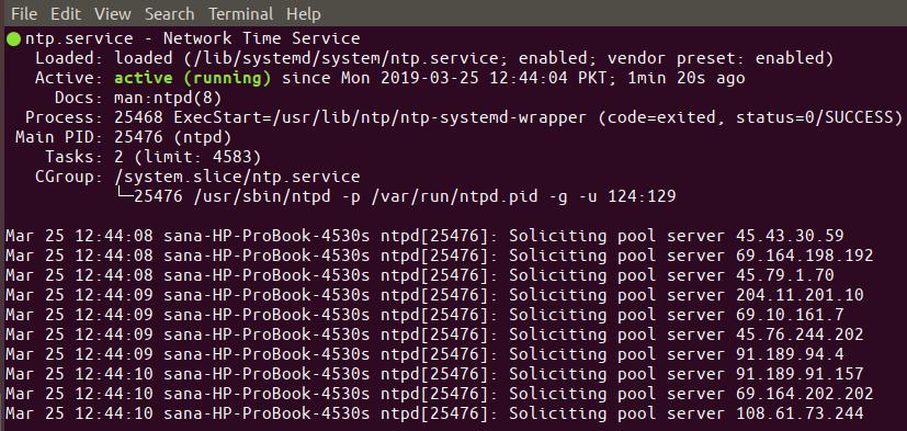 Check NTP server status