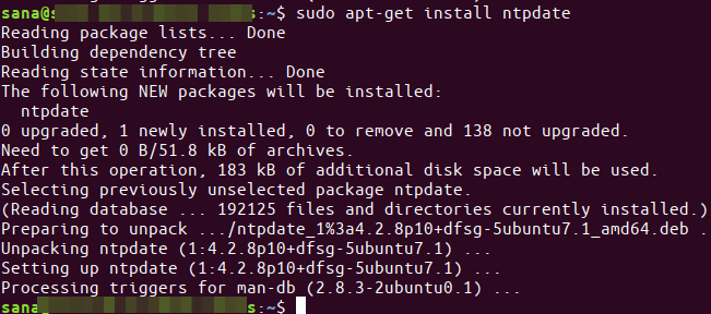 Install ntpdate program