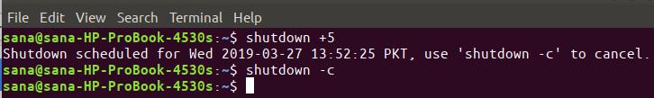 Schedules shutdown of Ubuntu system