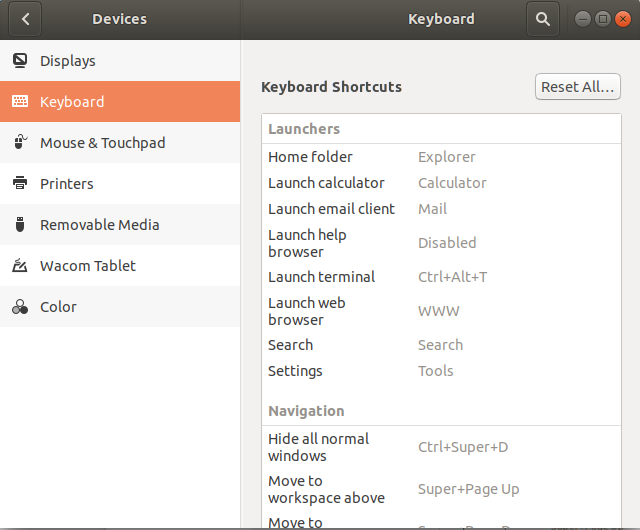 Ubuntu Keyboard Shortcut