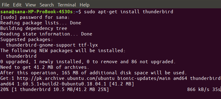 Install Thunderbird with apt