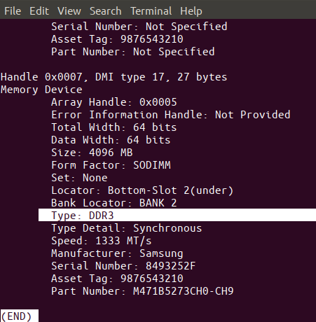 Check RAM type and speed in Linux