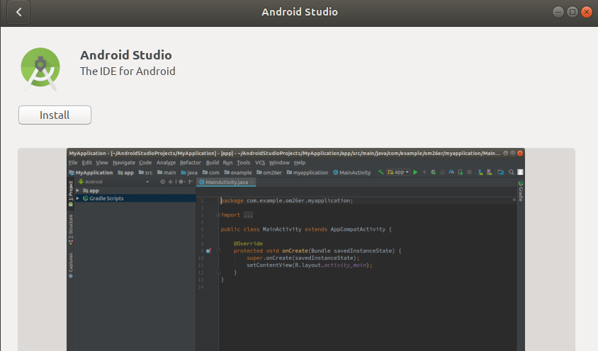 Install Android Studio Snap
