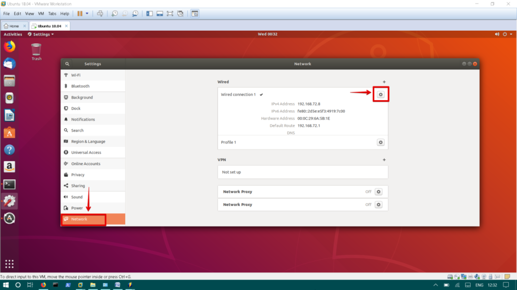 Network configuration using Ubuntu GUI