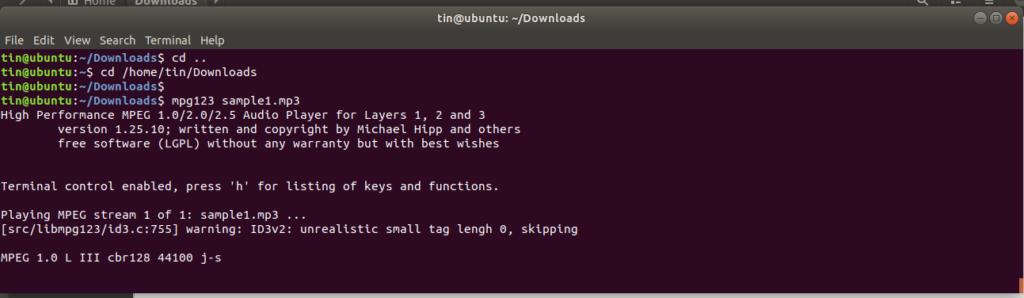 Play MP3 file on Ubuntu command line