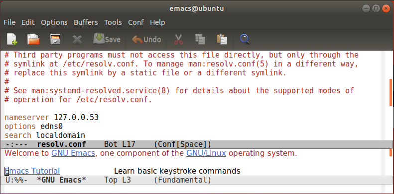 Emacs editor on Ubuntu Linux