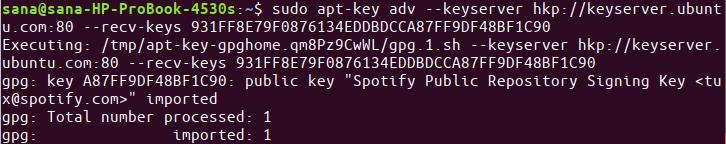 Add spotify app repository key