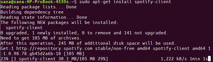 Install Spotify Client Ubuntu package