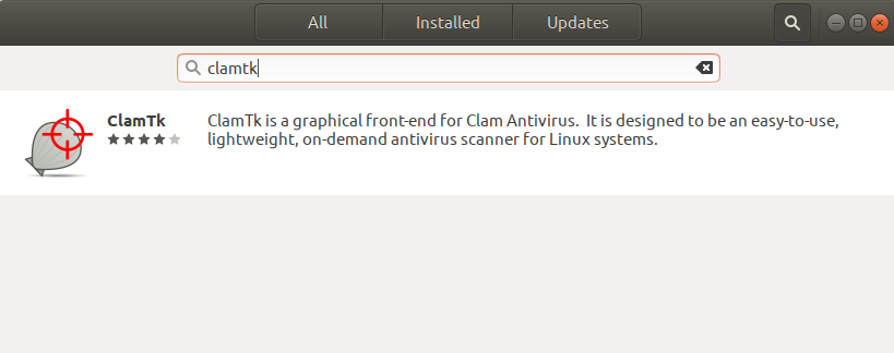 Search for ClamTK in software center