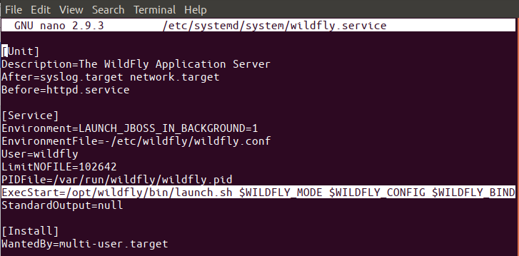 Edit wildfly.service file