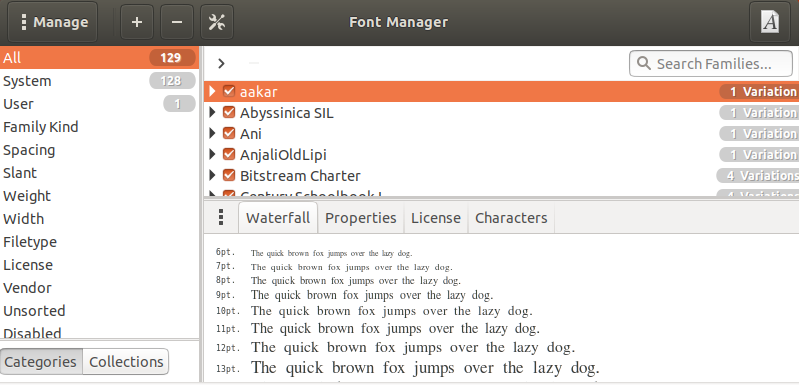 List of installed fonts shown in FontManager