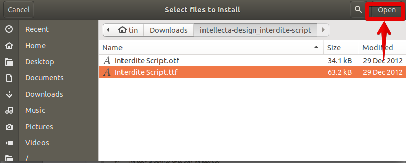 Select Font file