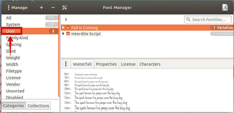 Font has been installed
