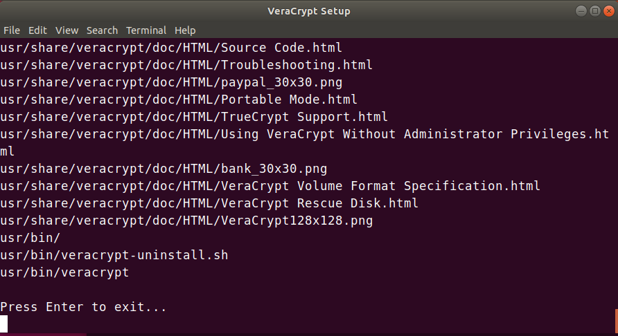 Verycrypt Installation Finished successfully