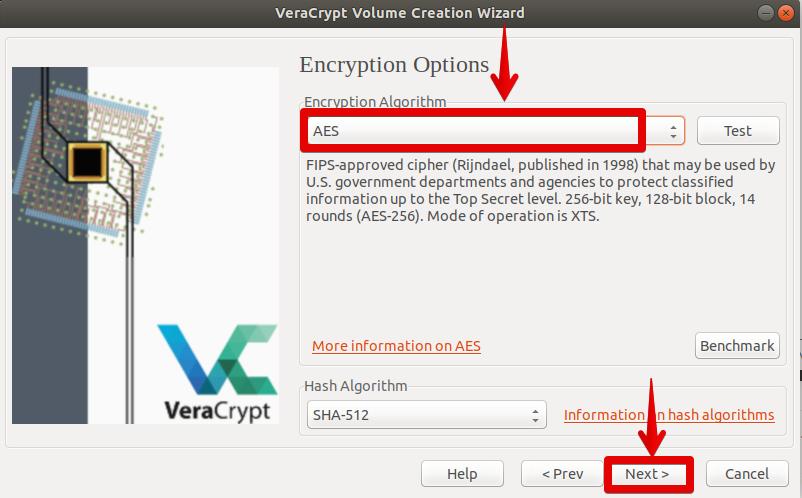 Choose encryption algorithm
