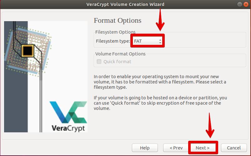 Choose Filesystem type