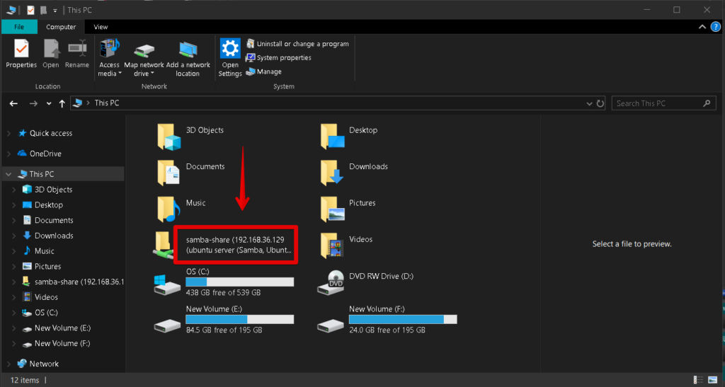Samba share visible in Windows