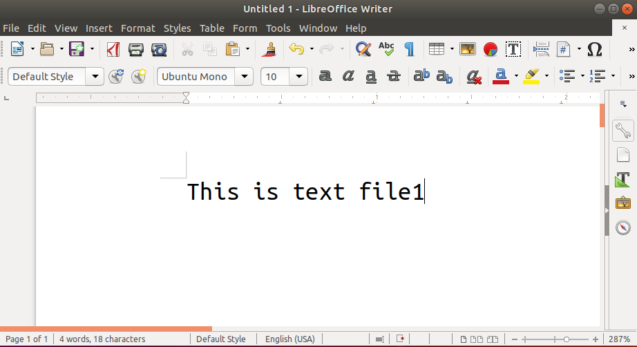 New document file with text