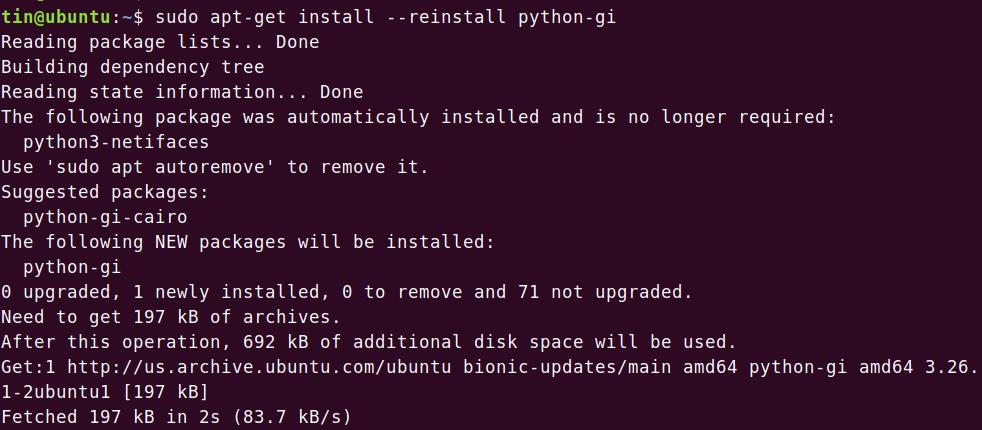 Reinstall Python GI