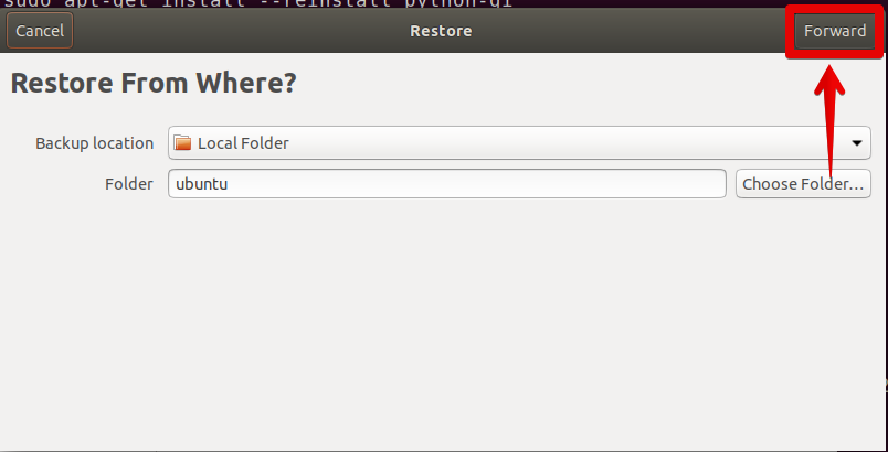 Select location to restore the backup