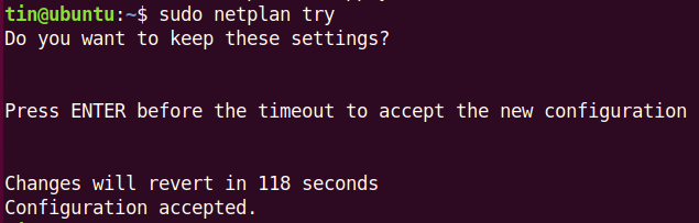 Test config with netplan try command