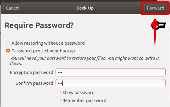Password protect the backup