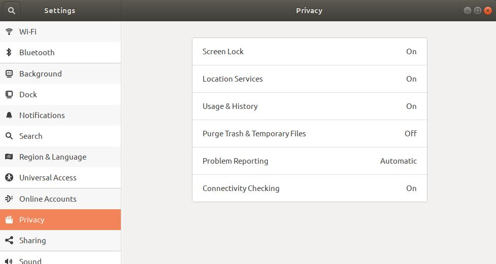 Ubuntu Privacy settings