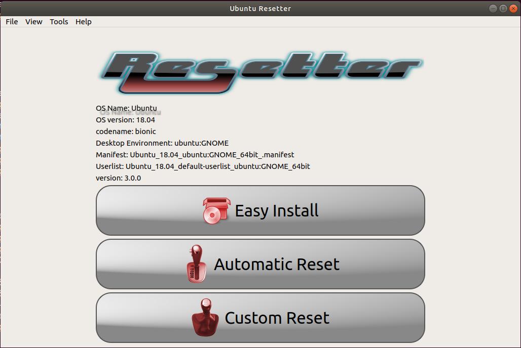 Start Ubuntu reset