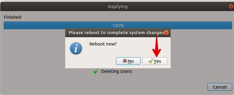 Reboot when finished
