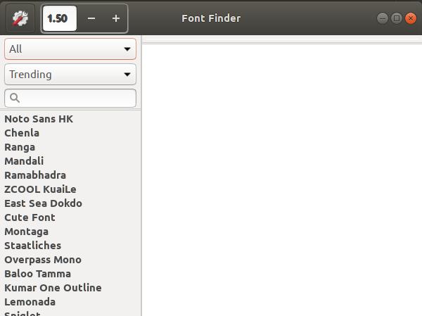 FontFimder aplication on Ubuntu