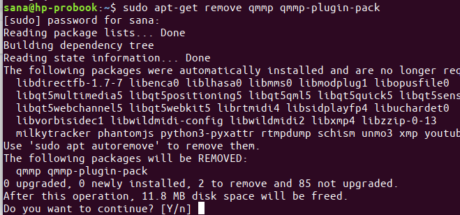 Remove QMMP with apt