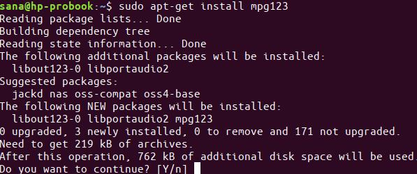 Install mpg123
