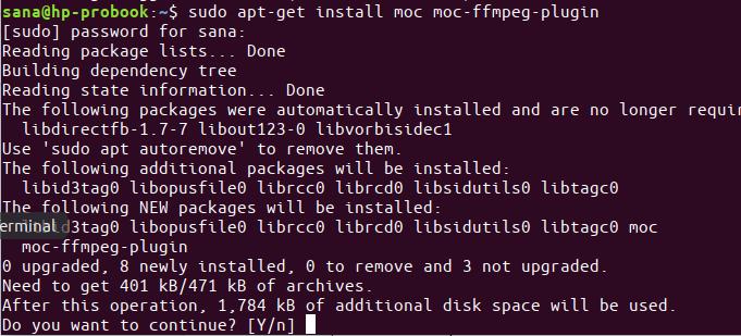 Installing MOC Media Player