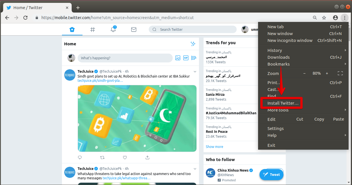 Install Twitter