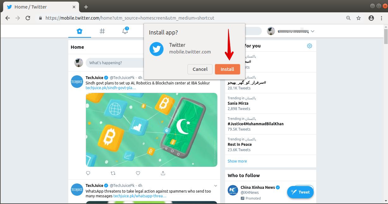 Install Twitter App