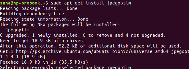 Install jpegoptim