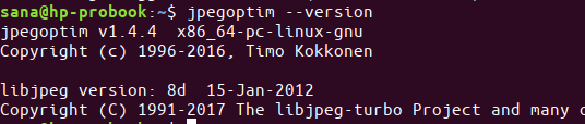 Check installed jpegoptim version