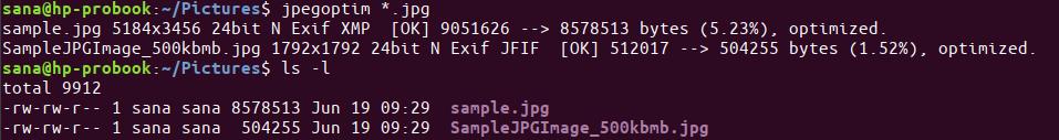 Optimize all jpg files in a folder