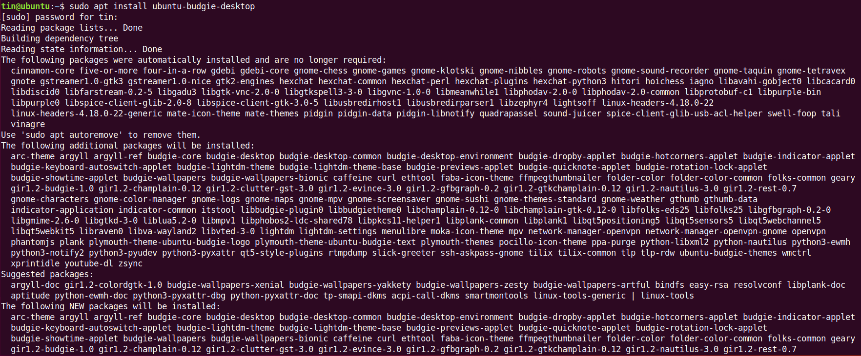 Install ubuntu-budgie-desktop