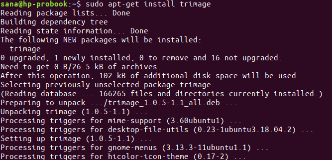 Install Trimage with apt