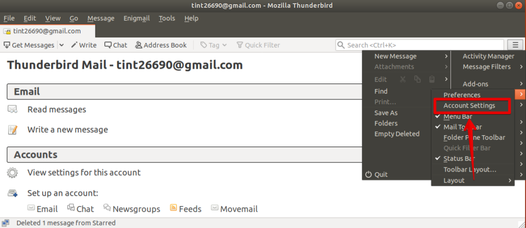 Enable Enigmail in your Email account