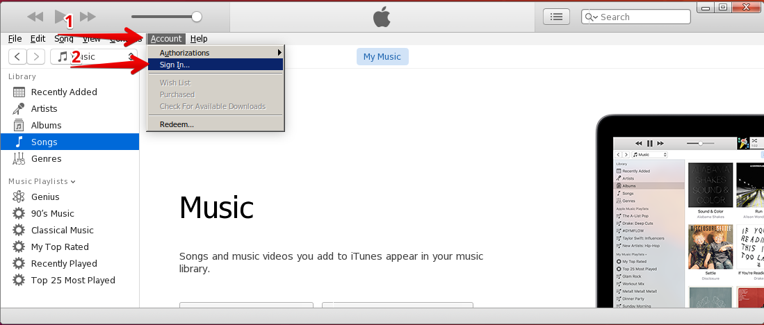 iTunes sign in